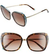 women's tiffany & co. 54mm gradient square sunglasses - havana/ blue/ brown gradient