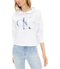 calvin klein jeans french terry logo hooded sweatshirt