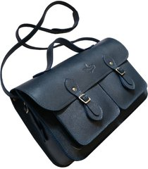 bolsa line store leather satchel pockets média couro marinho