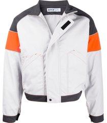 affix funnel-neck panelled jacket - grey