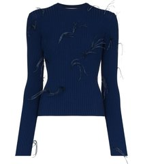 marques'almeida ribbed feather detail jumper - blue