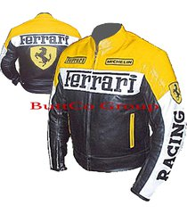 ferrari 0122 yellow/black genuine leather motorcycle motorbike biker jacket