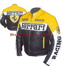 ferrari 0122 yellow/black genuine leather motorcycle motorbike biker jacket