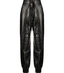 materiel padded faux leather trousers - black
