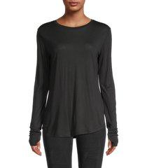 helmut lang women's long-sleeve thumbhole t-shirt - white - size xs