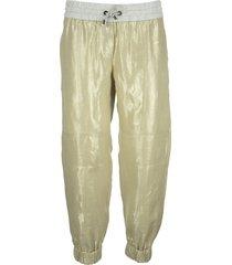 brunello cucinelli lightweight lamé linen trousers with contrast waistband