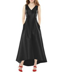women's alfred sung satin high/low gown