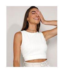top cropped feminino com vazado sem manga decote redondo off white