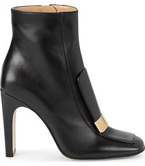 heeled leather booties