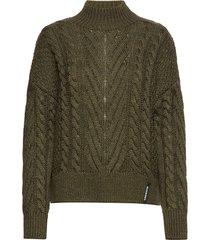dallas chunky cable knit stickad tröja grön superdry