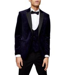 men's topman velvet skinny fit blazer, size 36 r - blue