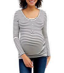 women's nom ruched long sleeve maternity top, size small - black