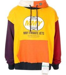 maison mihara yasuhiro mmy private jets print hoodie - yellow