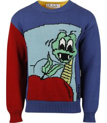 snake chunky knit crewneck sweater