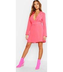 neon blazer jurk met ceintuur, neonroze