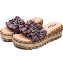 pantofole retrò realizzate a mano in pelle con platfrom ripiegabili in vera pelle