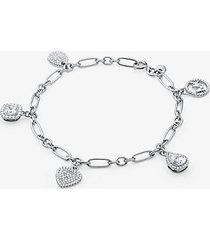 mk bracciale con ciondoli pavé in argento sterling - argento (argento) - michael kors
