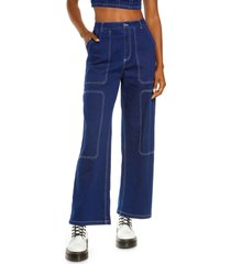 by. dyln cooper high waist wide leg jeans, size x-small in denim at nordstrom