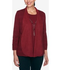 alfred dunner women's plus size madison avenue pointelle two for one sweater