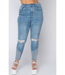 akira plus size too good high waisted rhinestone fringe skinny jeans