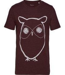 alder big owl tee - gots/vegan t-shirts short-sleeved röd knowledge cotton apparel