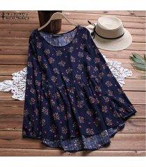 zanzea ocasional de las mujeres más el tamaño de la blusa del algodón camisa de la vendimia de boho superior floral -azul marino