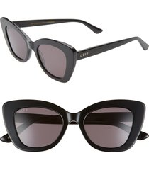 women's diff raven 52mm cat eye sunglasses - black/ grey