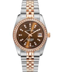 jacques du manoir ladies' two tone silver or gold rose stainless steel bracelet with twotone case and brown sunray dial and diamond markers and bezel, 36mm