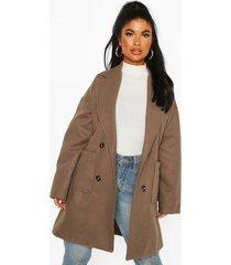 petite oversize double breasted pocket detail coat, grey