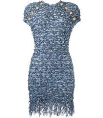 balmain frayed tweed dress - blue