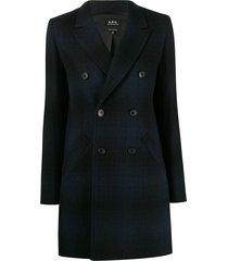 a.p.c. checked long line blazer - blue