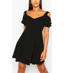 cold shoulder cup detail skater dress, black