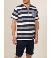 pyjama's / nachthemden admas for men homewear pyjamabroek t-shirt griekenland blauw admas