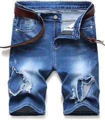 patchworks ripped design denim shorts