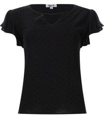 blusa unicolor con arandelas mujer color negro, talla l