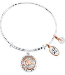 disney lilo and stitch shaker bangle bracelet in two-tone stainless steel