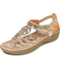 sandalias con cuentas de diamantes de imitación de t-leaf para mujer-oro