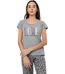 camiseta descanso love color gris, talla m