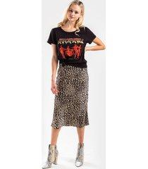 brella satin printed midi skirt - leopard