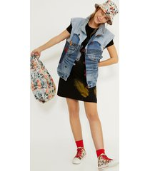 mickey mouse icon denim vest - red - red - m