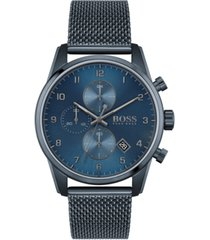 boss men's chronograph skymaster blue ion-plated mesh steel bracelet watch 44mm