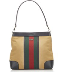 gucci canvas web shoulder bag brown, light brown, multi sz: m