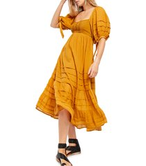 women's free people let's be friends midi dress, size large - yellow