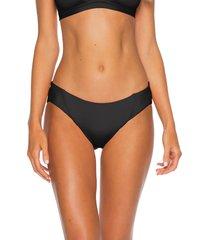 women's becca fine line ribbed bikini bottoms, size small - black