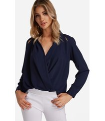 navy crossed front design v-neck long sleeves shirt