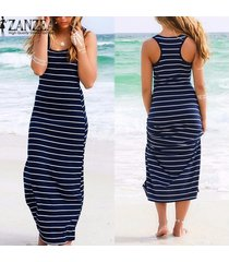 zanzea 3 estilo de verano sin mangas del color raya de las mujeres vestido vestidos más el tamaño m-xxl floja ocasional del vestido largo maxi (azul) -azul