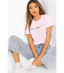 in love printed t-shirt, pink