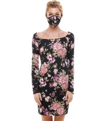 planet gold juniors' ribbed bodycon dress & printed face mask