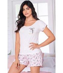 pijama mujer conjunto short manga corta 11526