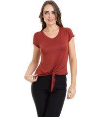 blusa kinara malha com amarração na cintura - feminino